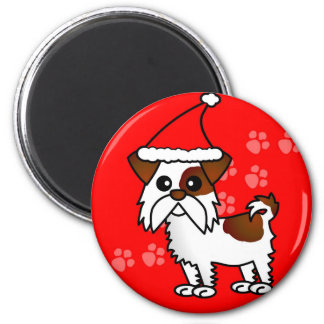 Cute Shih Tzu cartoon Santa Hat - Brown and White 2 Inch Round Magnet