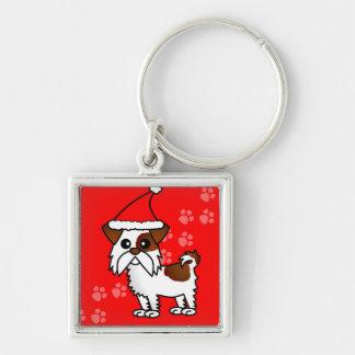 Cute Shih Tzu cartoon Santa Hat - Brown and White Keychain