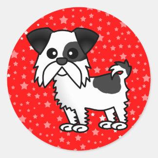 Cute Shih Tzu Cartoon Shirt Black and White Classic Round Sticker