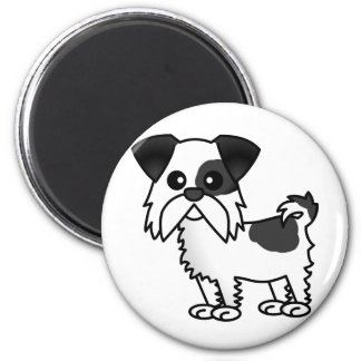 Cute Shih Tzu Cartoon Shirt Black and White Magnet