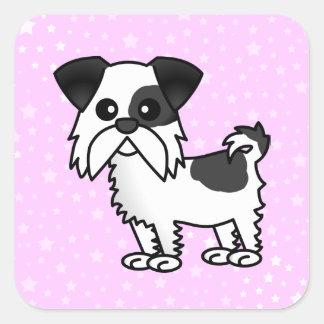 Cute Shih Tzu Cartoon Shirt Black and White Square Sticker