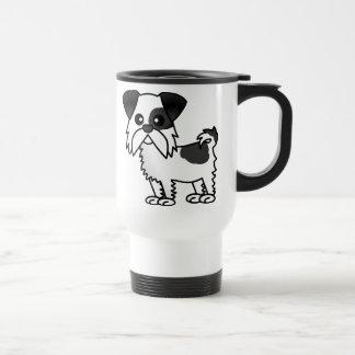 Cute Shih Tzu Cartoon Shirt Black and White Travel Mug