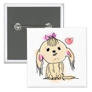 Cute Shih Tzu Dog Doodle Illustration Button