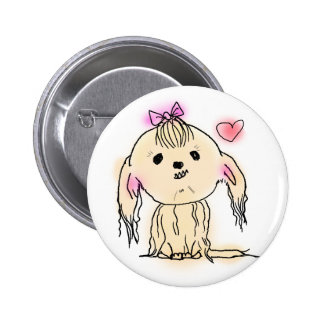 Cute Shih Tzu Dog Doodle Illustration Pinback Button