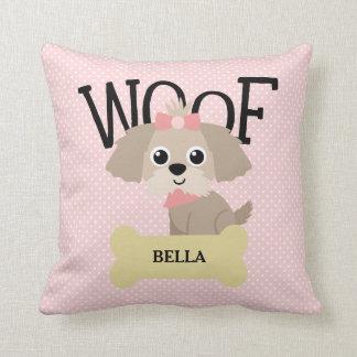 Cute Shih Tzu Puppy Dog on Pink Polka Dots Throw Pillow