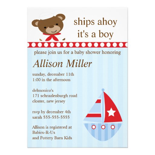 Cute Ships Ahoy Sailboat Boy Baby Shower Announcement