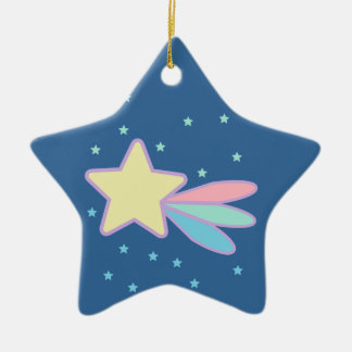 Cute Shooting Star Comet Double-Sided Star Ceramic Christmas Ornament