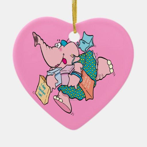 cute shopaholic shopping elephant Double-Sided heart ceramic christmas ornament