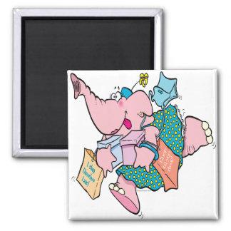 cute shopaholic shopping elephant fridge magnet