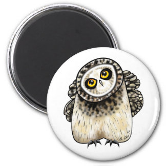 Cute Short Eared Owl 2 Inch Round Magnet