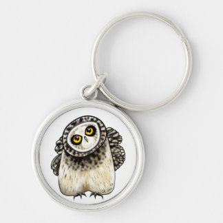Cute Short Eared Owl Silver-Colored Round Keychain