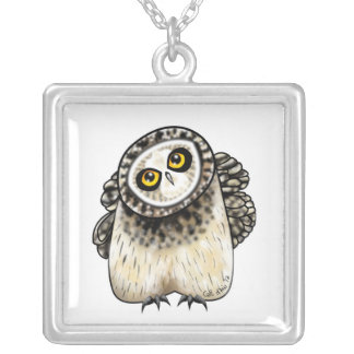 Cute Short Eared Owl Square Pendant Necklace