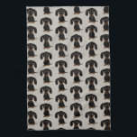 "Cute Short Haired Black and Tan Dachshund Pattern Hand Towel<br><div class=""desc"">Wiener Dog Lover&#39;s Kitchen Towel</div>"