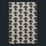 """Cute Short Haired Black and Tan Dachshund Pattern Hand Towel<br><div class=""""desc"""">Wiener Dog Lover&#39;s Kitchen Towel</div>"""