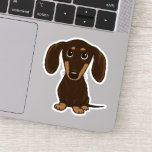 "Cute Shorthaired Chocolate Dachshund Cartoon Sticker<br><div class=""desc"">Cute Cartoon Wiener Dog Sticker. Stick this adorable Doxie vinyl decal to your laptop, phone, notebook, water bottle, guitar case or even your car. These durable vinyl Dachshund stickers are waterproof and fade proof. A cool design for dog lovers, dog moms, dog dads, particularly anyone who loves a short haired...</div>"