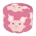 Cute Shorty Cartoon Pig Round Pouf