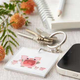 Cute Shouting Cartoon Pigs Acrylic Keychain