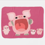 Cute Shouting Cartoon Pigs Baby Blanket