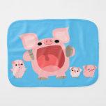 Cute Shouting Cartoon Pigs Burp Cloth