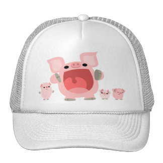 Cute Shouting Cartoon Pigs Hat