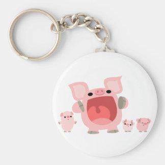 Cute Shouting Cartoon Pigs Keychain