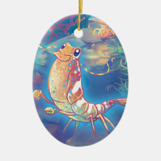 Cute Shrimp Ceramic Ornament