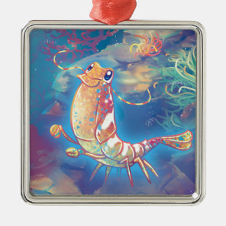 Cute Shrimp Metal Ornament