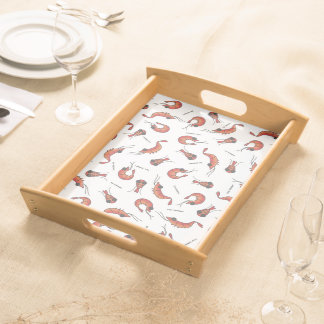 Cute shrimp seafood print serving tray
