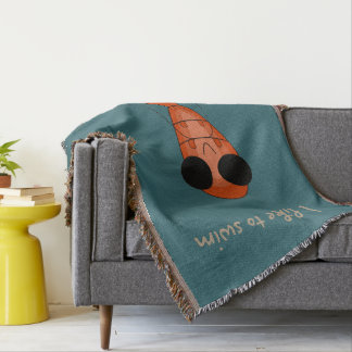 Cute shrimp throw blanket
