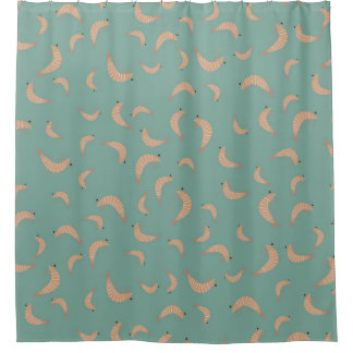 Cute shrimps - vintage colors shower curtain