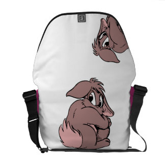 Cute Shy Bunny Rabbit Cartoon in Pink Messenger Bag