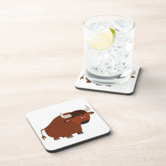 Cute Shy Cartoon Bull Coasters Set