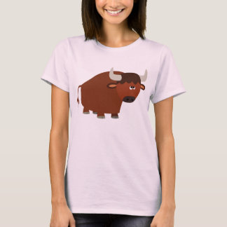 Cute Shy Cartoon Bull Women T-Shirt