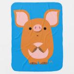 Cute Shy Cartoon Pig Baby Blanket