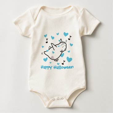 Halloween Themed Cute Shy Devil in Happy Hearts Sky Baby Bodysuit