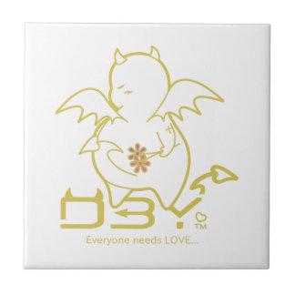 Cute Shy Devil in LOVE Ceramic Tile