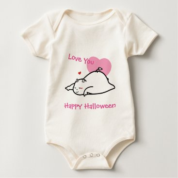 Halloween Themed Cute Shy Devil Love You Baby Bodysuit