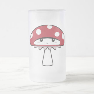 Cute Shy Kawaii Toadstool Frosted Glass Beer Mug