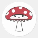 Cute Shy Kawaii Toadstool Round Stickers