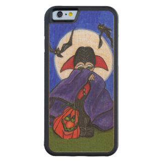 Cute Shy Little Vampire Bat Moon Pumpkin Halloween Carved Maple iPhone 6 Bumper Case