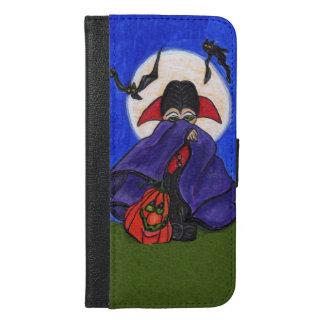 Cute Shy Little Vampire Bat Moon Pumpkin Halloween iPhone 6/6s Plus Wallet Case