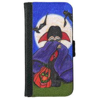 Cute Shy Little Vampire Bat Moon Pumpkin Halloween iPhone 6/6s Wallet Case