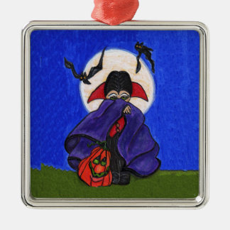 Cute Shy Little Vampire Bats Moon Metal Ornament