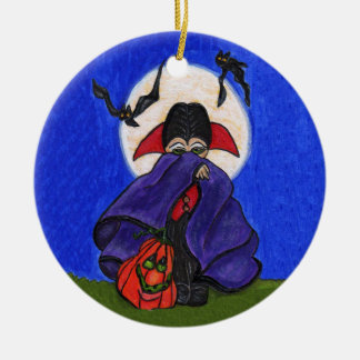 Cute Shy Little Vampire Bats Moon Double-Sided Ceramic Round Christmas Ornament