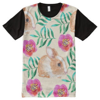 Cute shy watercolor bunny on flowers pattern All-Over-Print T-Shirt