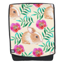 Cute shy watercolor bunny on flowers pattern backpack