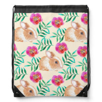 Cute shy watercolor bunny on flowers pattern drawstring backpack