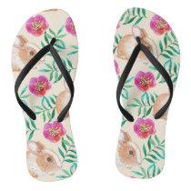Cute shy watercolor bunny on flowers pattern flip flops