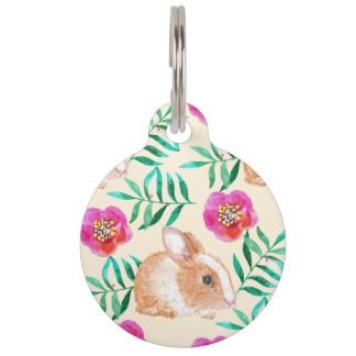 Cute shy watercolor bunny on flowers pattern pet ID tag