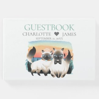 Cute Siamese Cat Bride Groom Couple Wedding Guest Book